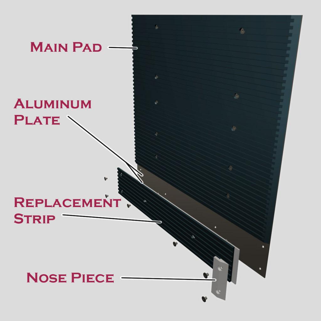 Gorilla Grabber Carton Clamp Pads with replaceable grip strip diagram